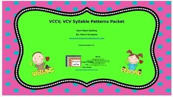 I love this new Syllable Pattern Set!  It incorporates important spelling strategies and decoding skills for reading by using VCCV and VCV word cards.  Words with these patterns are divided into syllable so the student can look for the patterns in each syllable.  Students will apply the spelling strategy of looking for the spelling pattern, to identify how the each syllable should be spelled.  Students will become forever spellers instead of just good memorizers.