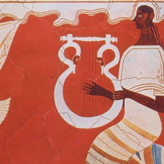 🎶 #Music... here for thousands of years. #Fresco with musician from #Pylos, #Mycenaean Greece (Late Bronze Age) . #archaeology , #art, #worldmusicday