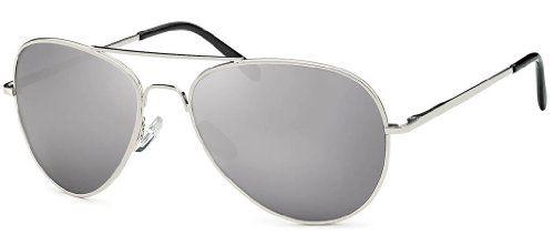 Sonnenbrille verspiegelt Pilotenbrille für Damen und Herren mit Federscharnieren an den Bügeln für normal große Köpfe und Gesichter Spiegelglasbrille Sonnenbrillen 2014 + Feinzwirn Eyewear Microfaser-Brillenbeutel