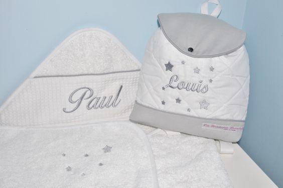 Baby box cadeau naissance:Sac a dos gris enfant étoiles brodé+cape de bain personnalise au nom : Sacs à dos, cartables par lbm-creation