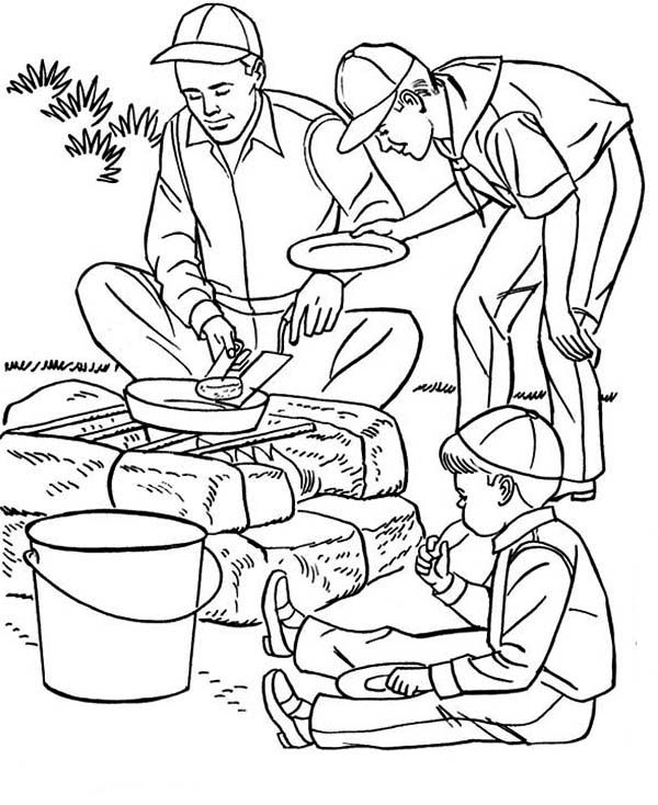 Summer Camp Frying Potato On Summer Camp Coloring Page Coloring Pages Camping Coloring Pages Online Coloring Pages