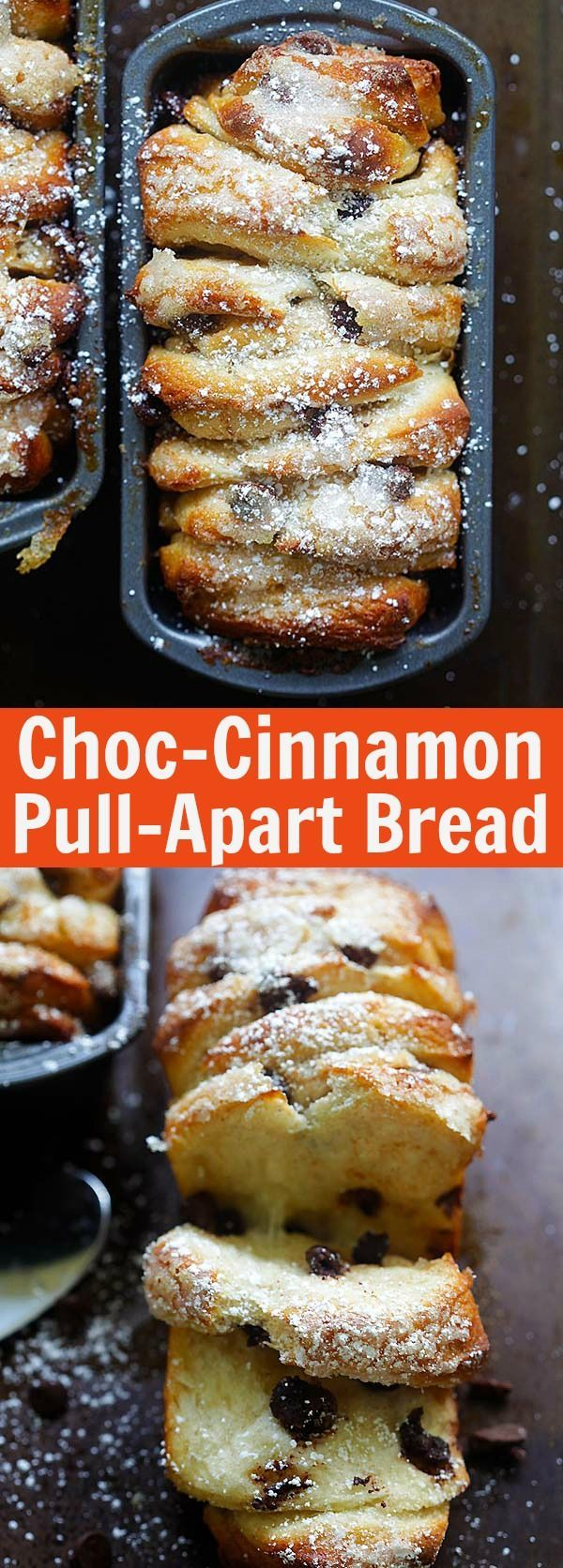 Chocolate-Cinnamon Pull-Apart Bread - Crazy delicious pull-apart bread loaded with chocolate chips and cinnamon. A must-bake