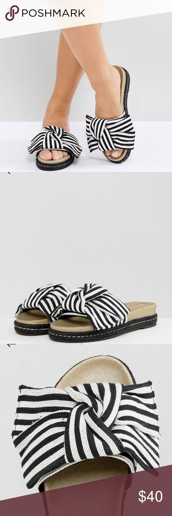 River Island Stripe Double Bow Slides Worn only once! Sandals by River Island Textile upper Striped design Slip-on style Bow detailing Contrast stitching Textured sole Do not wash 100% Textile Upper PRODUCT CODE 1141786 River Island Shoes Sandals