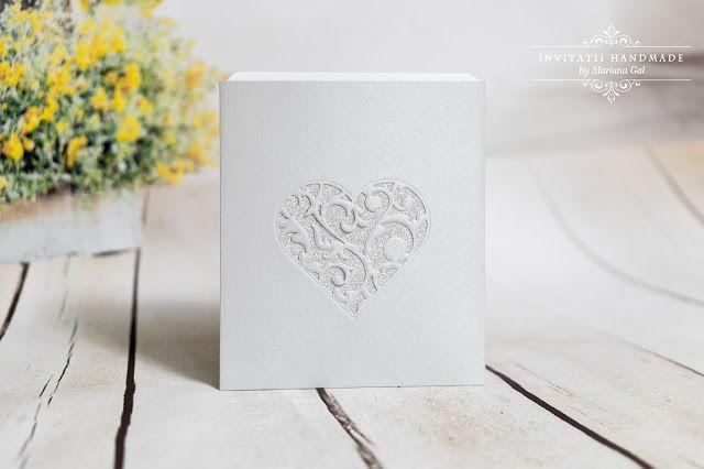 INVITATII HANDMADE by Mariana Gal: invitatie gri / argintiu
