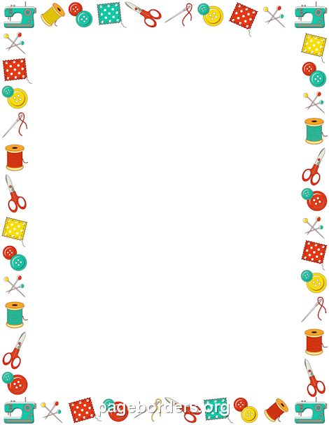 Printable sewing border. Free GIF, JPG, PDF, and PNG downloads at http://pageborders.org ...