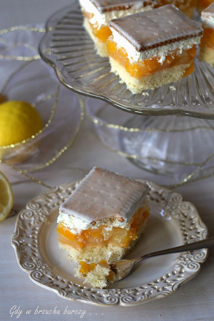 Cytrynek - ciasto cytrynowo-brzoskwiniowe na biszkopcie