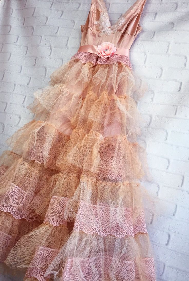 light cocoa tan blush tulle boho wedding dress by mermaid miss Kristin by mermaidmisskristin on Etsy