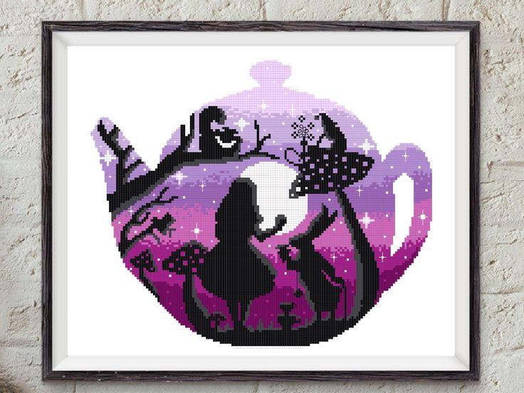 Alice in Wonderland modern cross stitch pattern, counted cross stitch chart, embroidery, nursery decor, girl, baby, DIY, pdf