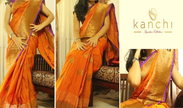 Code: KSC 079 Banaras orange mutka silk with antique gold motifs all over the body. To place an order/book the saree drop us an email with the relevant code at: Email: kanchi.signature@gmail.com Phone/Whtzap - 08089813556