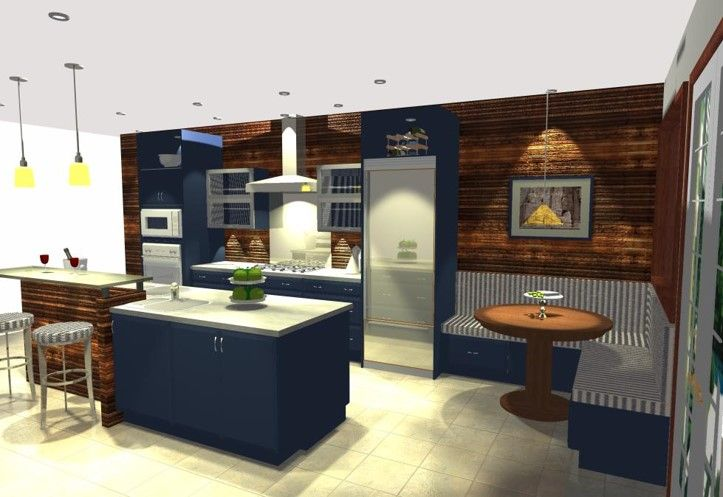Wood accent wall and built in dining nook in Contemporary Style Kitchen