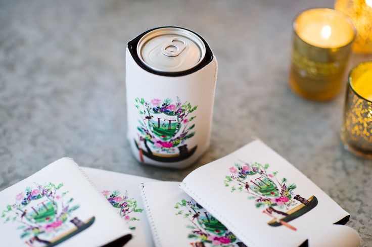Custom Floral Crest Beer Koozie Favors