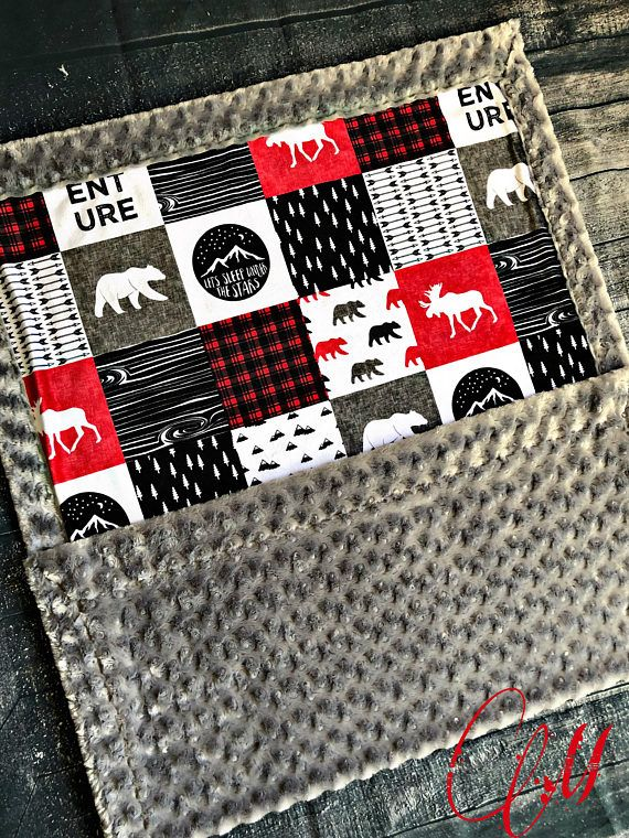 ***Options*** Please read carefully!! Black and red happy camper faux quilt with silver swirl backing. Minky blankets are minky on both sides. Check shop info for turnaround time. Minky Baby blanket - Measures approximately 28x38 inches. Great for strollers, car seats, swaddling etc