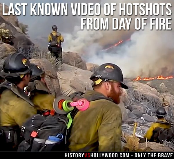 A screenshot of the Granite Mountain Hotshots from the day of the wildfire tragedy. To see the video, read 'Only the Brave: History vs. Hollywood' http://www.historyvshollywood.com/reelfaces/only-the-brave/ #wildfirefestival #wildfires #firefighters #fireman #wildfire #forestfire #movies #history #milesteller #joshbrolin #fireman #fire