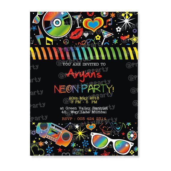 Neon Party Invites - Custom Printable Birthday Invitation on Etsy, $7.00