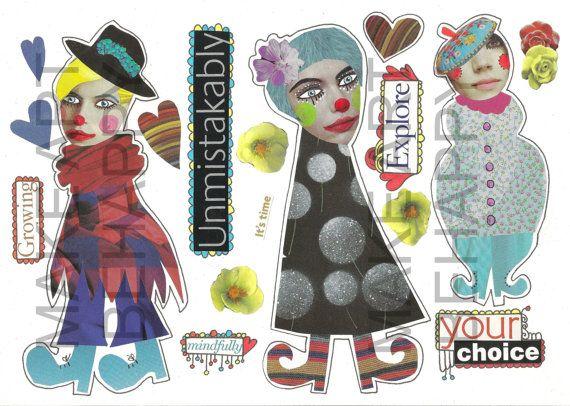 Collage blad, tijdschrift blad, eigenzinnige tekens, gemengde media poppen nr D03