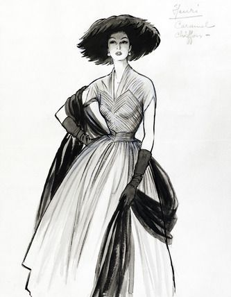 Fashion Sketch, by Marcel Fromenti (1886-1969). France, 20th century.
