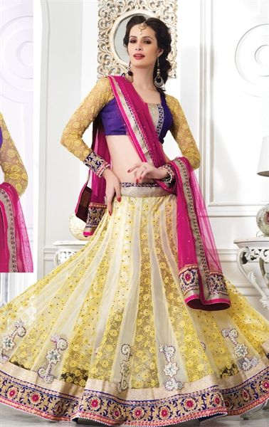 Stunning Beige and Yellow Designer Wedding Lehenga Choli Set HSPDIW9410 - www.indianwardrobe.com