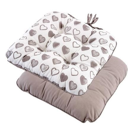 Taupe Country Heart Collection Seat Pad | Dunelm