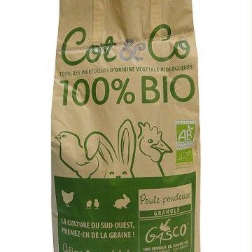 POULE PONDEUSE BIO COT&CO Poule Pondeuse BIO – aliments pour poules BIO : aliment complet en granulés à destination des poules pondeuses. Il est fabriqué à partir de matières premières issues d…