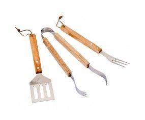 www.sconticasa.it  Set 3 accessori per barbecue con manico in legno  Lunghezza 32cm