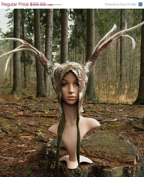 One of a kind shamanic cosplay hat with long felted wool antlers. Primitive tribal design. This unique shaman costume hat was made using the oldest