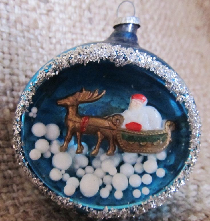Vintage 1960's Santa And Reindeer Diorama Blue Glass Christmas Ornament, Made In Japan, Ships Worldwide by AuntSuesVintage on Etsy https://www.etsy.com/listing/257927547/vintage-1960s-santa-and-reindeer-diorama