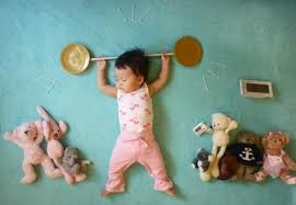 Sleeping Baby Art (Weight Lifting!)