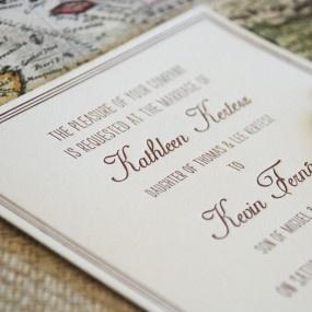 Vintage Map Destination Letterpress Wedding Invitation-Elegant and vintage in style this unique wedding invitation is perfect for a destination wedding.