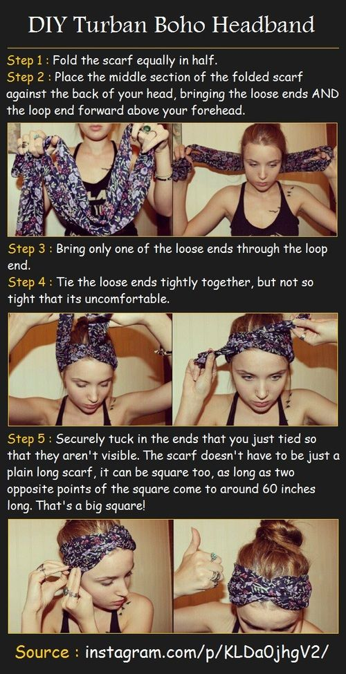 How to tie a scarf turban-style. Turban headwraps look so effortless and cute on those days you don't feel like messing around with your hair so much.