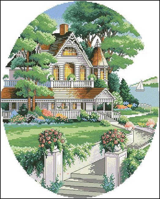 Верхнее качество Популярные Прекрасный счетный крест стежка Kit Прекрасный дом Викторианский дом тусклым 03874