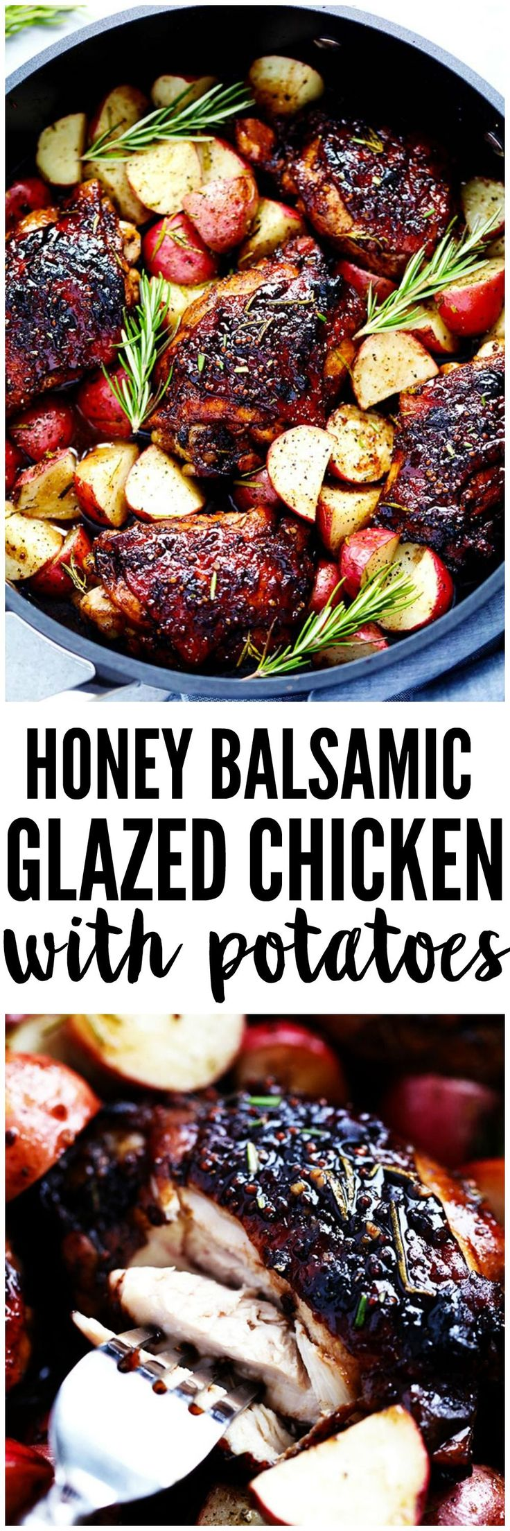 ***Glazed Honey Balsamic Chicken with Potatoes ~ is a one pan meal with tender and juicy chicken glazed in a sweet and tangy honey balsamic sauce. Surrounded by crisp and tender potatoes this is one delicious meal!
