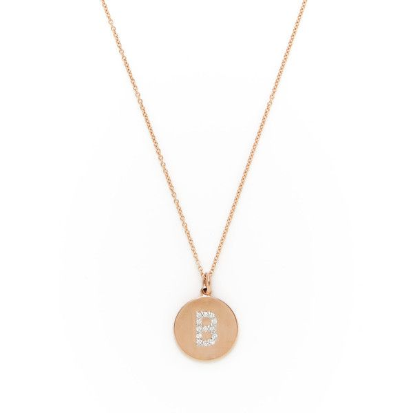 """Nephora Women's 14K Rose Gold & 0.10 Total Ct. Diamond """"B"""" Initial Disc Pendant Necklace featuring polyvore, women's fashion, jewelry, necklaces, pink, rose gold initial necklace, long necklaces, pendant necklace, diamond necklace pendant and pink diamond necklace"""