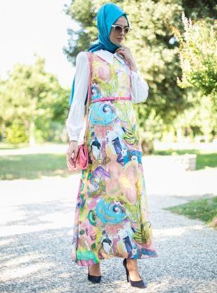 Renkli Elbise - Pudra - Puane :: HoopSepete