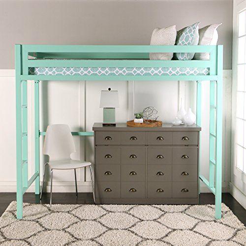 We Furniture Premium Twin Metal Loft Bed Mint Twin Loft Bed Small Room Bedroom Loft Bed