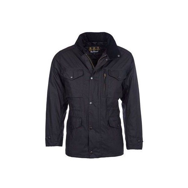 Barbour sapper wax jacket black (£395) ❤ liked on Polyvore featuring men's fashion, men's clothing, men's outerwear, men's jackets, mens zip up jackets, mens quilted jacket, mens waxed jacket and mens military style jacket