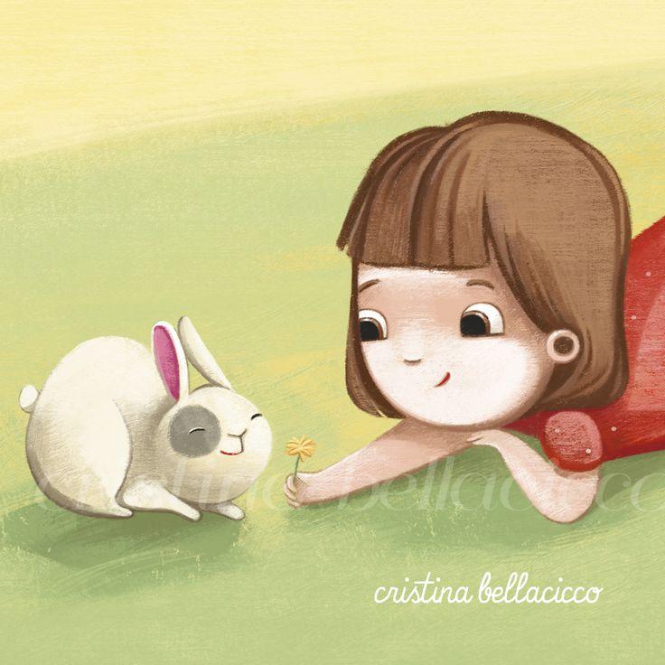 """Sunny friends"" © Cristina Bellacicco #bunny #girl #illustration #friend #kids"