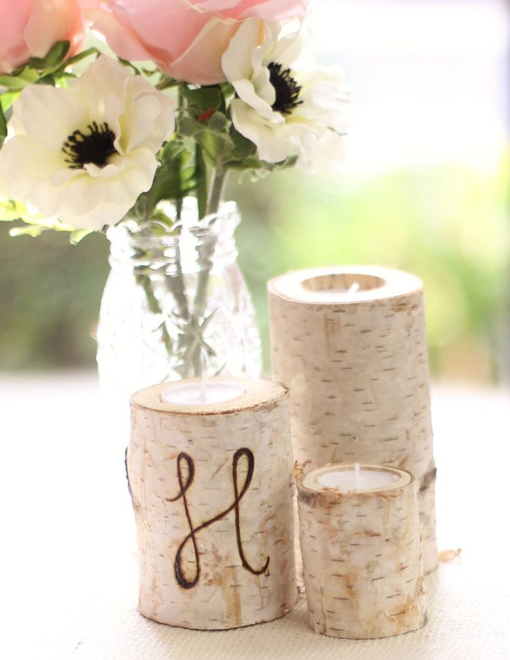 Personalized Birch Bark Candle Holders Rustic Chic Wedding Decor by braggingbags on Etsy https://www.etsy.com/listing/115219652/personalized-birch-bark-candle-holders
