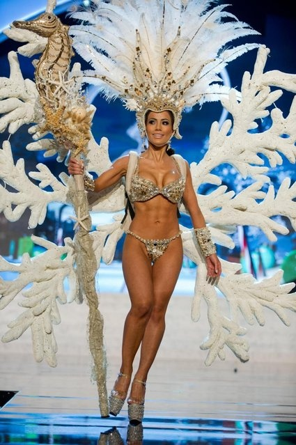 Miss Honduras 2012, Jennifer Andrade, performs onstage at the 2012 Miss Universe National Costume Show on Friday, December 14, 2012 at PH Live in Las Vegas, Nevada. The 89 Miss Universe Contestants will compete for the Diamond Nexus Crown on December 19, 2012. (Photo by AP Photo/Miss Universe Organization L.P., LLLP) http://avaxnews.me/appealing/Miss_Universe_National_Costume_Show_2012.html