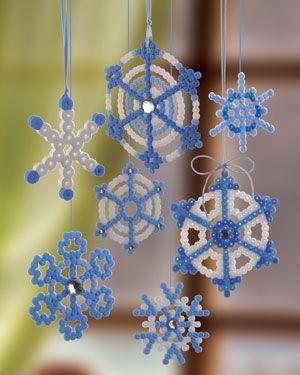 Bügelperlen hama beads Schneeflocken