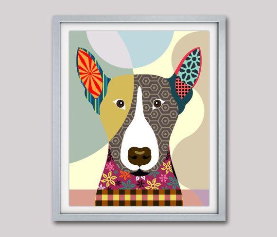 Bull Terrier Art Print, Bull Terrier Gift, Bull Terrier Dog Pet Portrait,  Animal