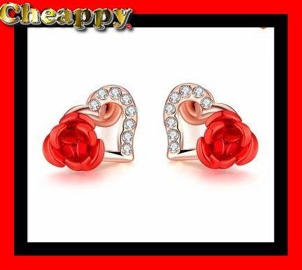 Mooie oorbellen in de vorm van Hartjes met een roos - Cheappy