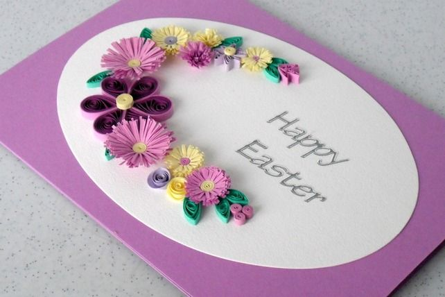 quilling easter | Quilled Easter greeting card, with paper quilling flowers