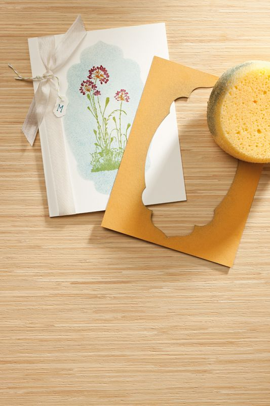 """Stampin' Up!  Framelit  Use a diecut frame and sponge to """"mask"""" the shape."""