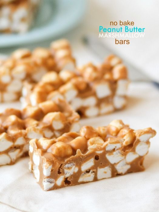 No Bake Peanut Butter Marshmallow BarsBaking Peanut, Peanut Butter Bars, S'Mores Bar, Marshmallows Bar, Cookbooks Queens, 4 Ingredients, Minis Marshmallows, Butter Marshmallows, Butterscotch Chips