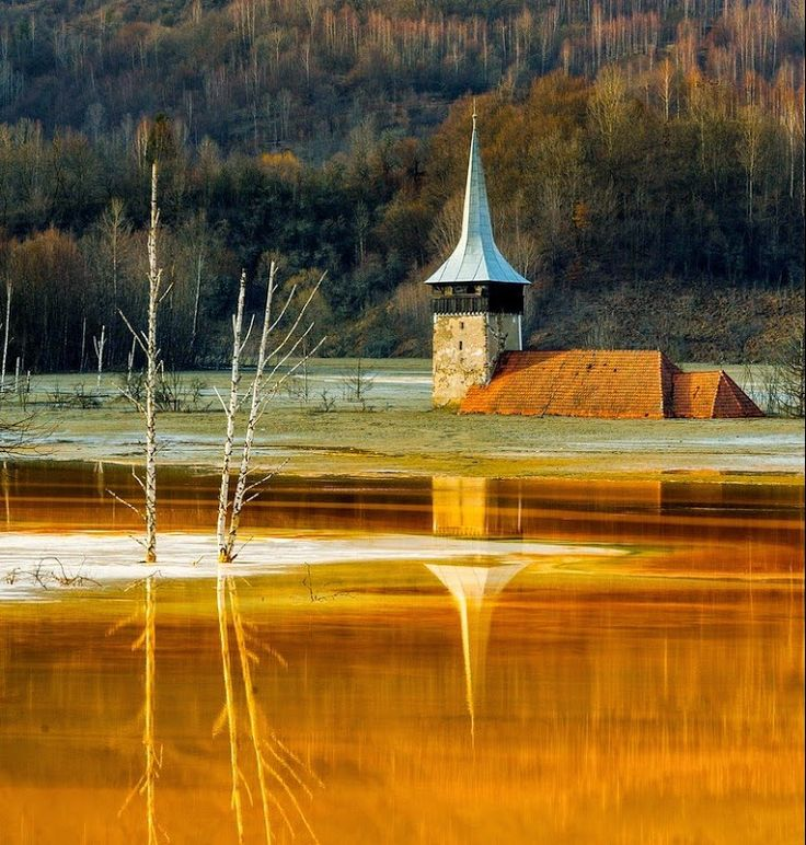Geamana village, flooded by a toxic lake that served as a catch-basin for the Rosia Poieni mine's contaminated sludge to flow into. Apuseni Mountains, Alba county, Romania