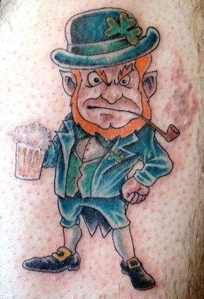 Smoking And Drinking Leprechaun Tattoo