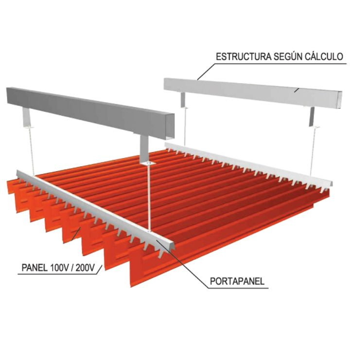 El sistema de plafón lineal V100 de Hunter Douglas presenta soluciones de plafones y revestimientos, compuestos por paneles fabricados en madera o metal, con paneles de varios  formatos  que se adaptan a los requerimientos del proyecto. Pueden ser lisos, perforados o ranurados, de diferentes colores y terminaciones