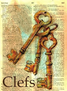 Mixed Media Key (Clefs) Drawing on Distressed French/Engish Dictionary