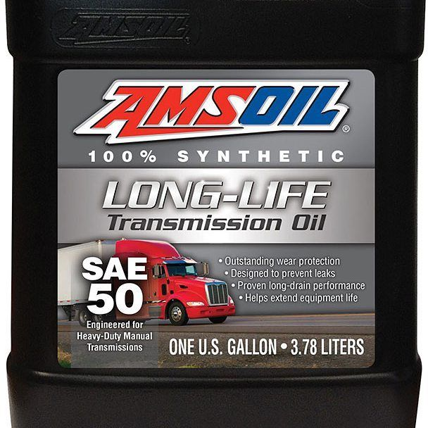 AMSOIL SAE 50 Long-Life Synthetic Transmission Oil is specially formulated to meet the demanding requirements of manual transmissions found in high-torque heavy-duty line-haul trucks and other commercial applications.  #syntheticoil #mechanic #usamade #madeinamerica #semi #eaton #navistar #international #mack #rockwell #transmission #kenworth #peterbilt #volvo #ford #tuesday