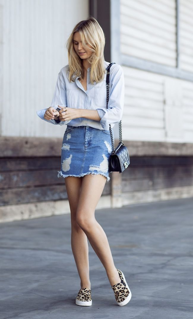 Ripped jeans skirt style - DesignerzCentral